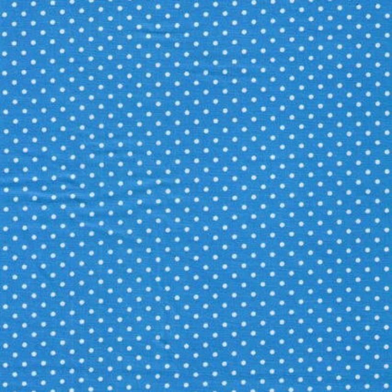 Bomuld m/hvide små prikker, turkis-31