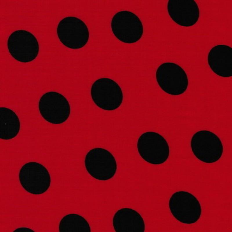 Bomuld med store prikker rød/sort-31