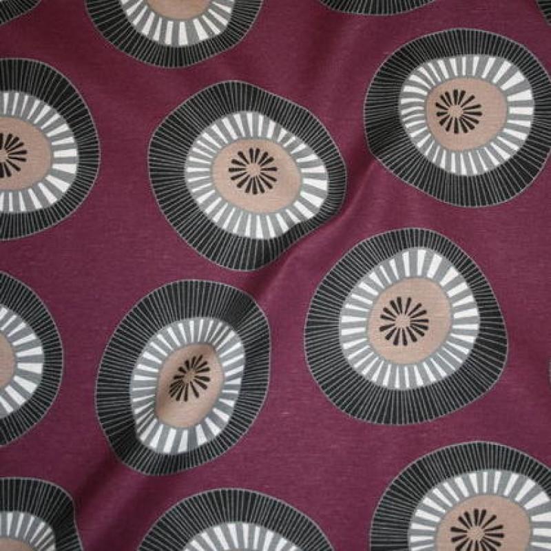 Bomuld/polyester m/cirkler lilla/grå/sort-31