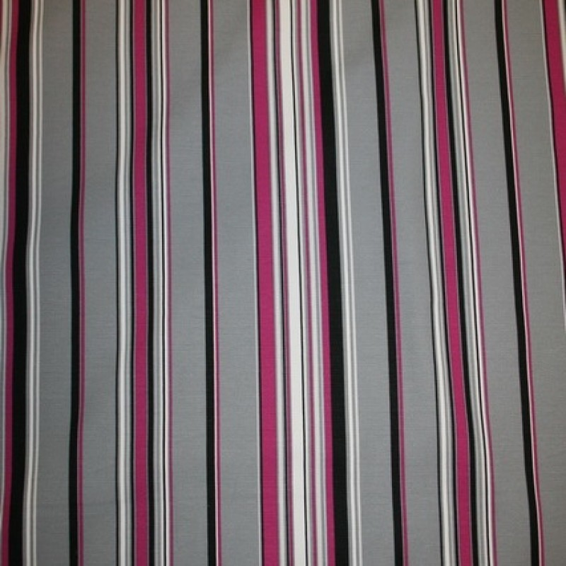 Kraftig stribet bomuld, grå/pink