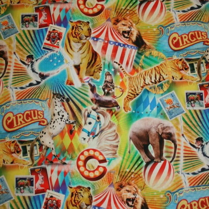 Bomuld m/digitalt print, cirkus