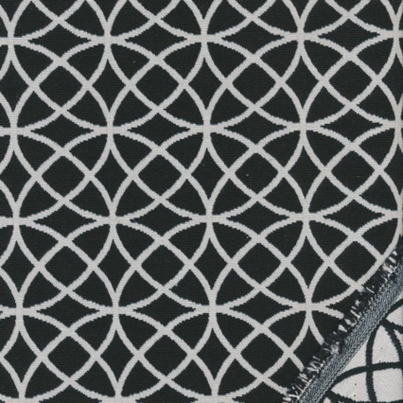 Bomuld/polyester m/cirkler sort/knækket hvid-35