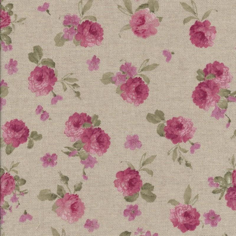 Hør-look m/rosa blomster-33