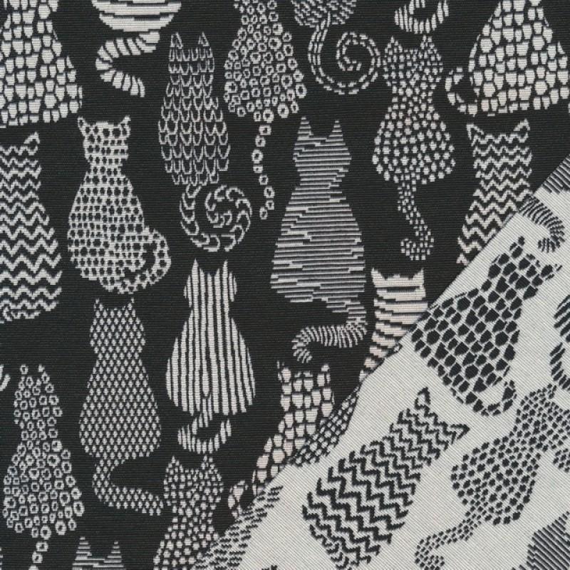 Bomuld/polyester m/katte i sort og offwhite-36