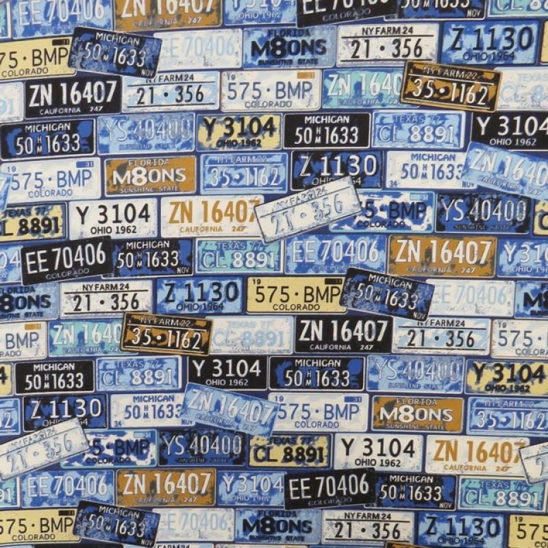 Bomuld med nummerplader i blå lyseblå beige-36