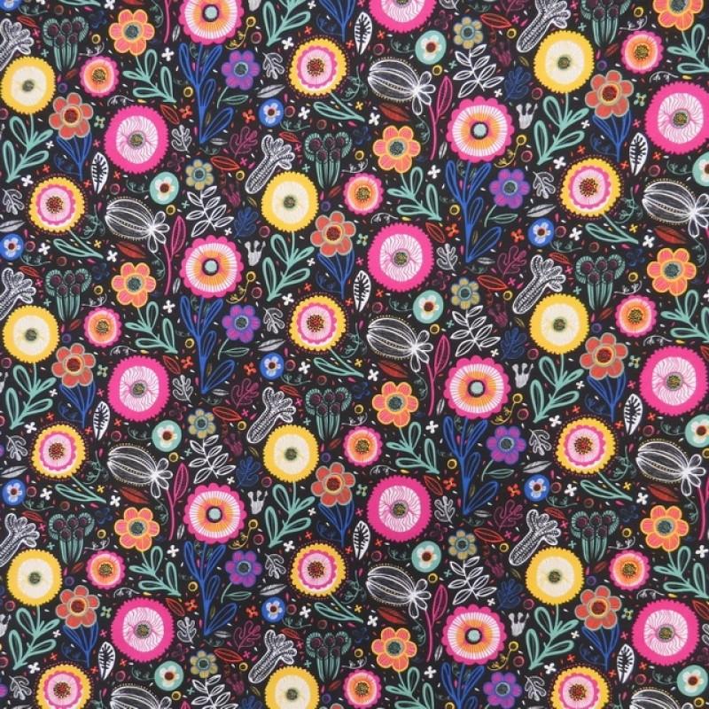 Bomuld/polyester retro sort med blomster-35