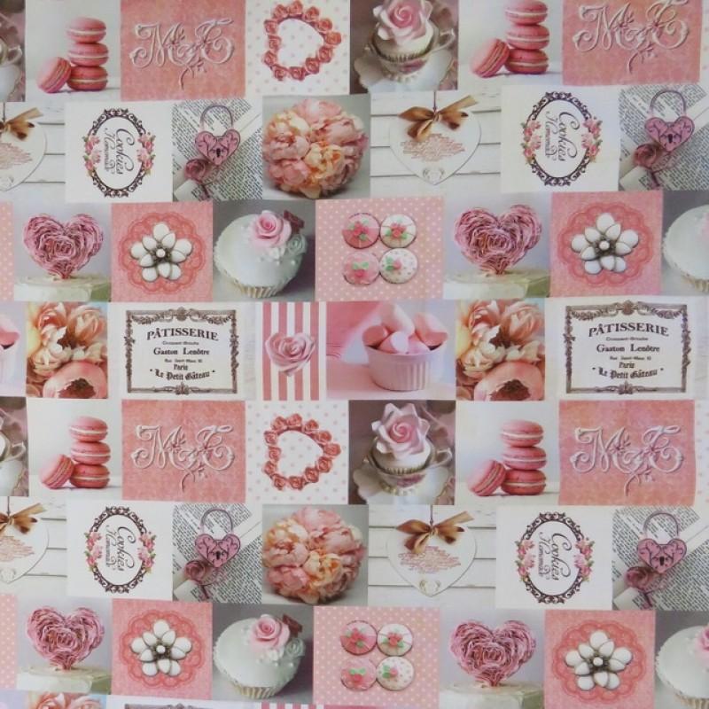 Bomuld m/digitalt print med firkanter med kager og hjerte-37