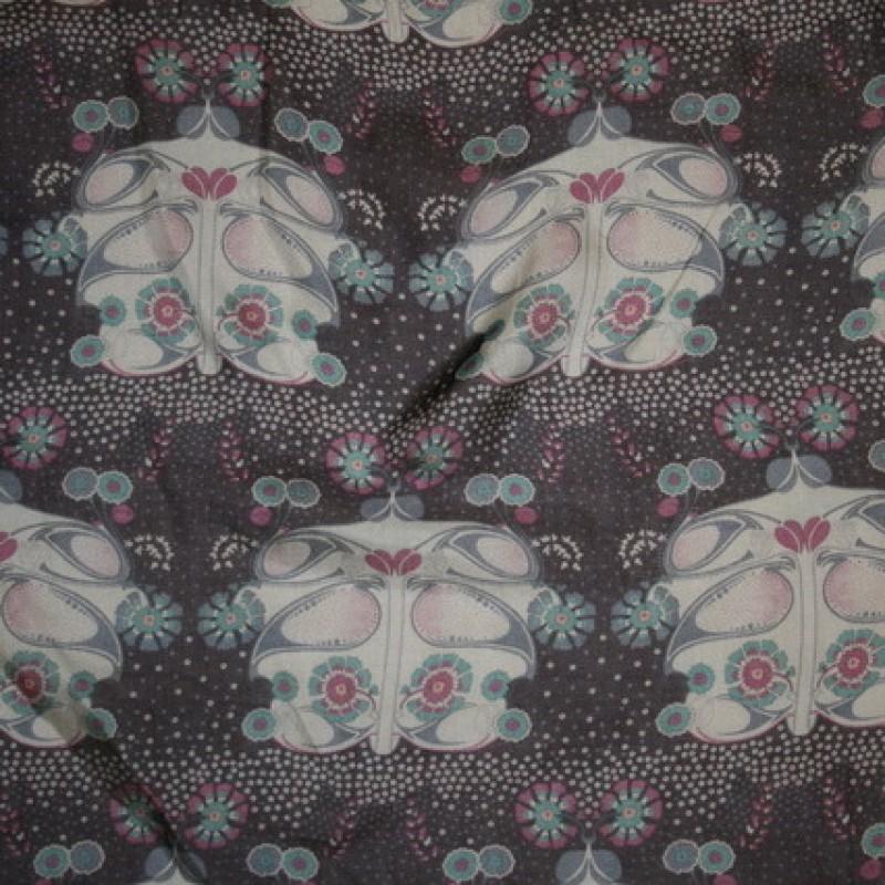 Chiffon silke/bomuld mørkelilla m/mønster-31