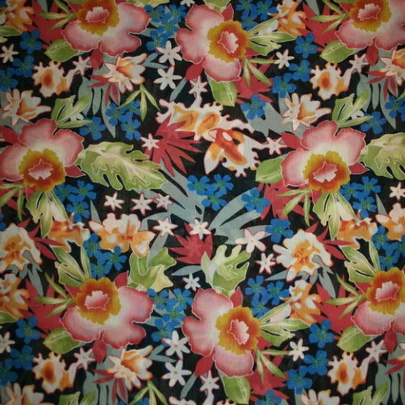 Rest Chiffon m/blomster sort/rosa/grøn/blå, 90 cm.-35