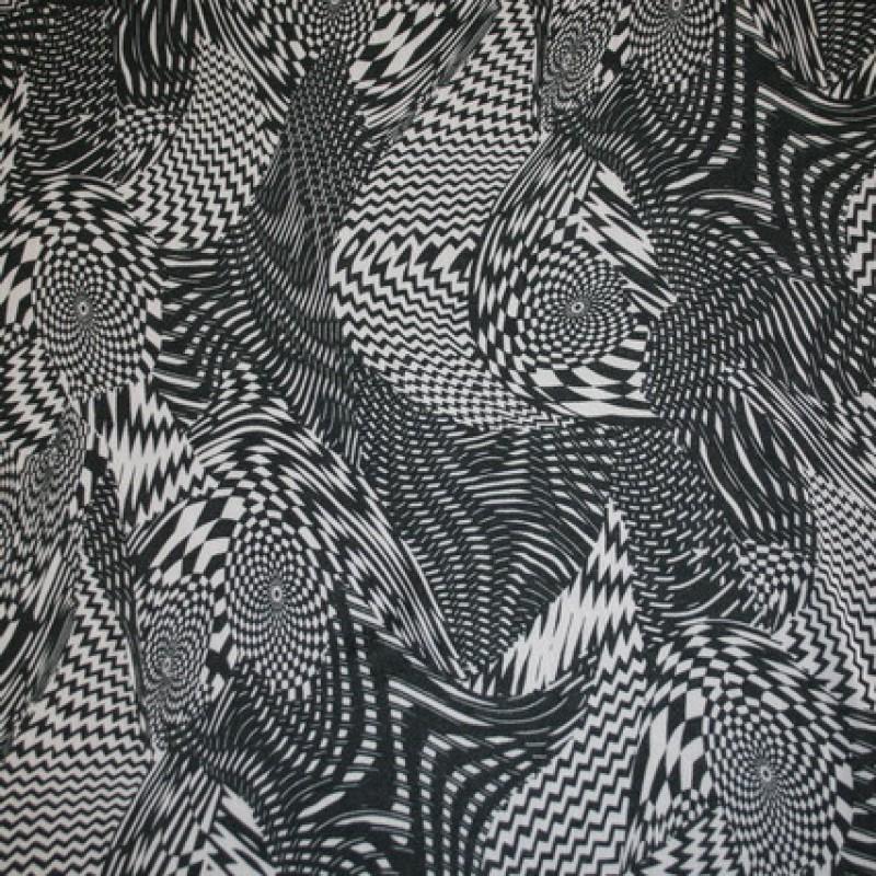 Chiffon m/grafisk mønster sort/hvid-33