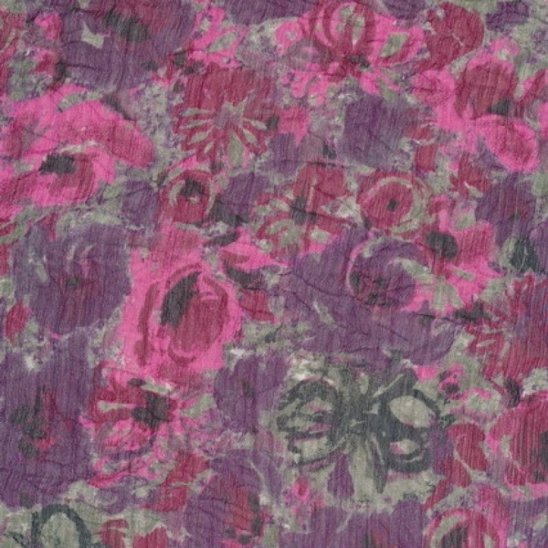 Let krøllet chiffon m/blomster, grå/lilla/pink-31