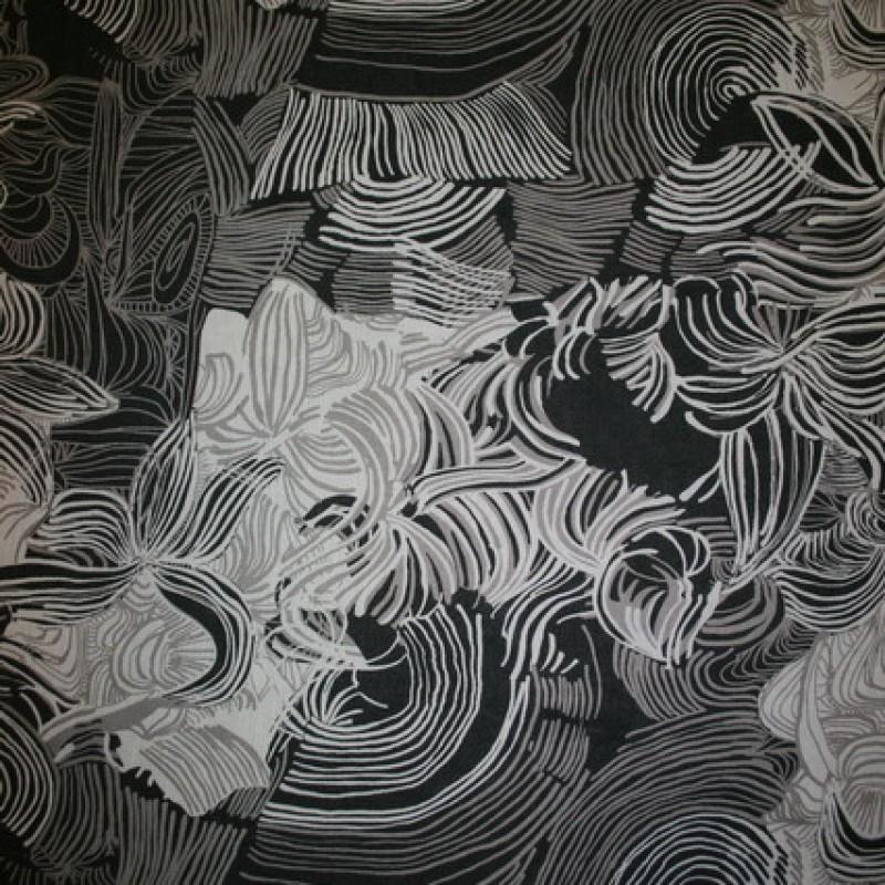 Chiffon m/blomst/cirkel sort/sand/hvid