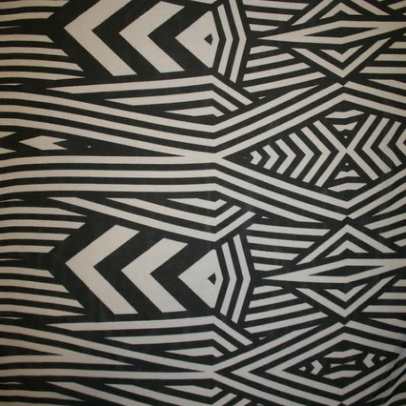 Chiffon m/grafisk mønster/striber sort/off-white-35