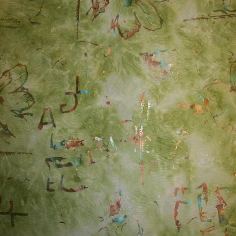 Rest Chiffon m/batik/glimmer, lime/lysegrøn 65 cm.-33
