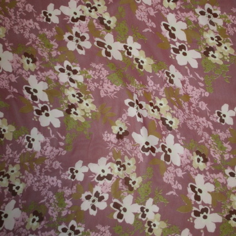 Rest Blomstret Chiffon gl.rosa/rosa/oliven 100 cm.-33