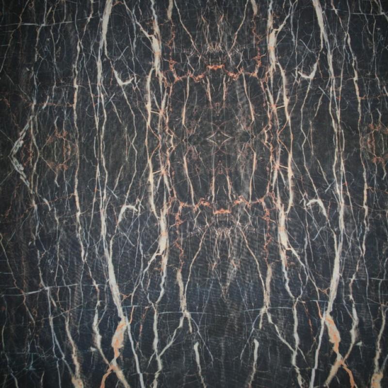 Rest Let chiffon m/streger, sort/grå/brændt orange, 40 cm.-35