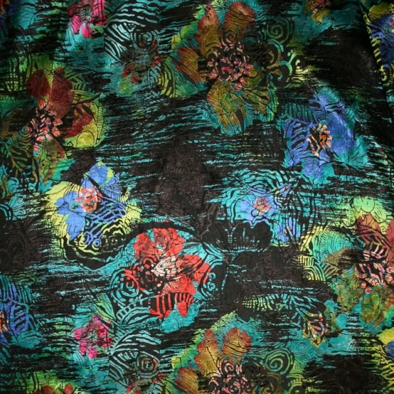 Chiffon silke/polyester i sort med blomster i petrol rød-32