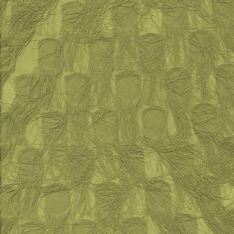 Chiffon med prikker og frynser i oliven