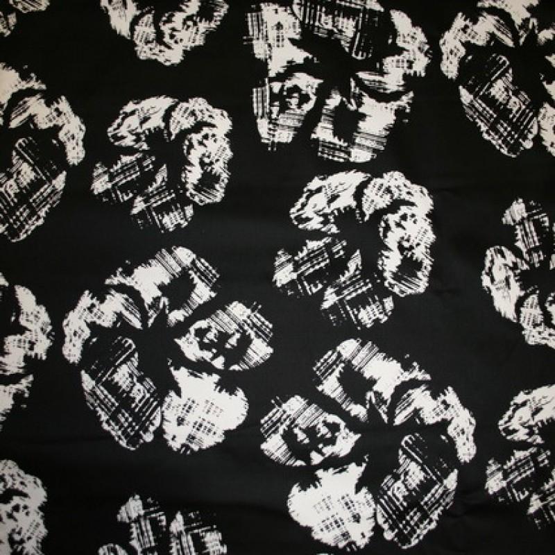 Rest Bomuld m/stræk and blomster, sort/hvid, 30 cm.-33
