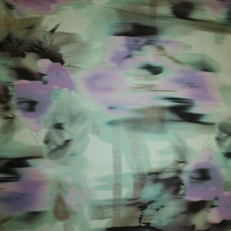 Rest Bomuldssatin m/stræk, blomstret mint/lyselilla 47 cm.-35
