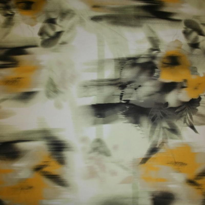 Bomuldssatin m/stræk, blomstret lysegrøn/gul-35