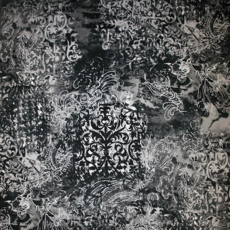 Bomuld m/stræk og mønster, sort/grå-33