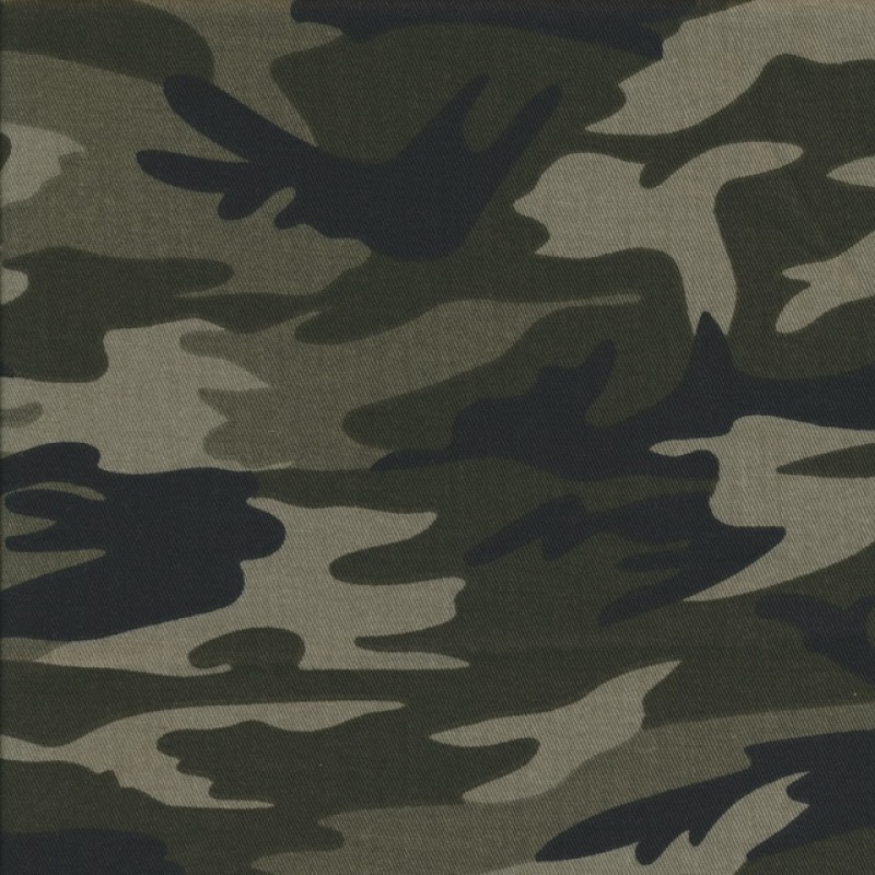100% bomuld/cowboy i army print sort army oliven