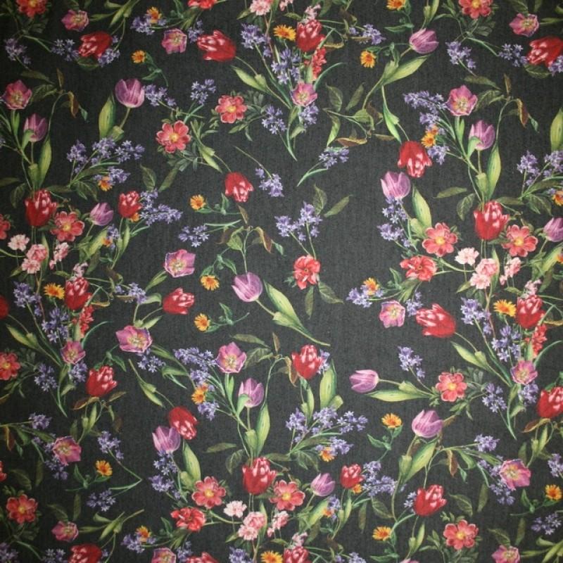 Cowboy med stræk digital print blomstret sort rød lilla-311