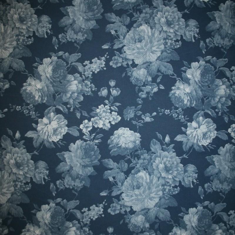 Rest Cowboy med stræk digital print blomstret blå lyseblå, 59-70 cm.