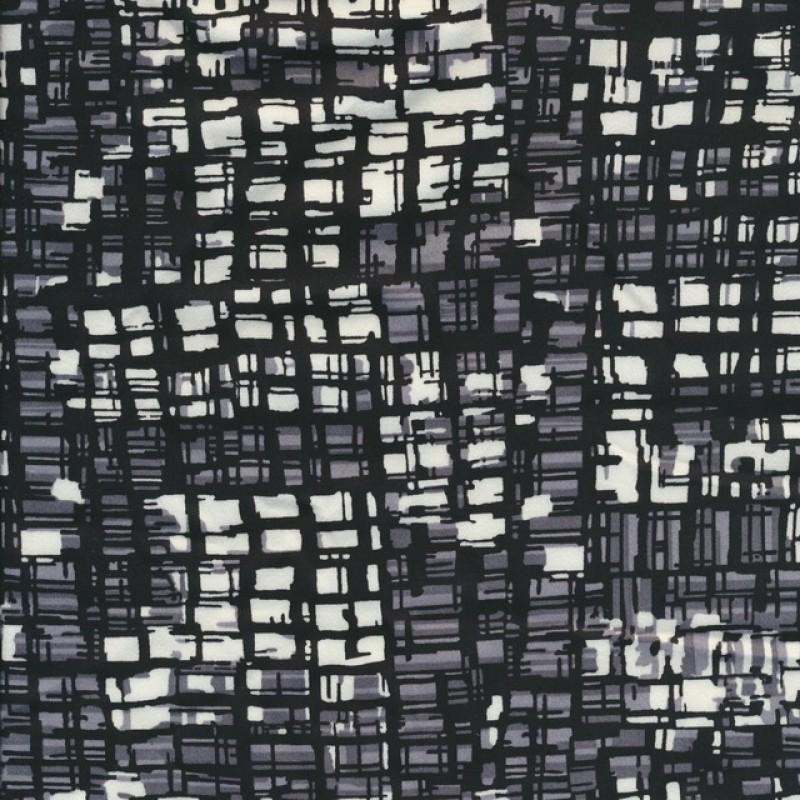Bomuld med stræk retro print i sort grå hvid