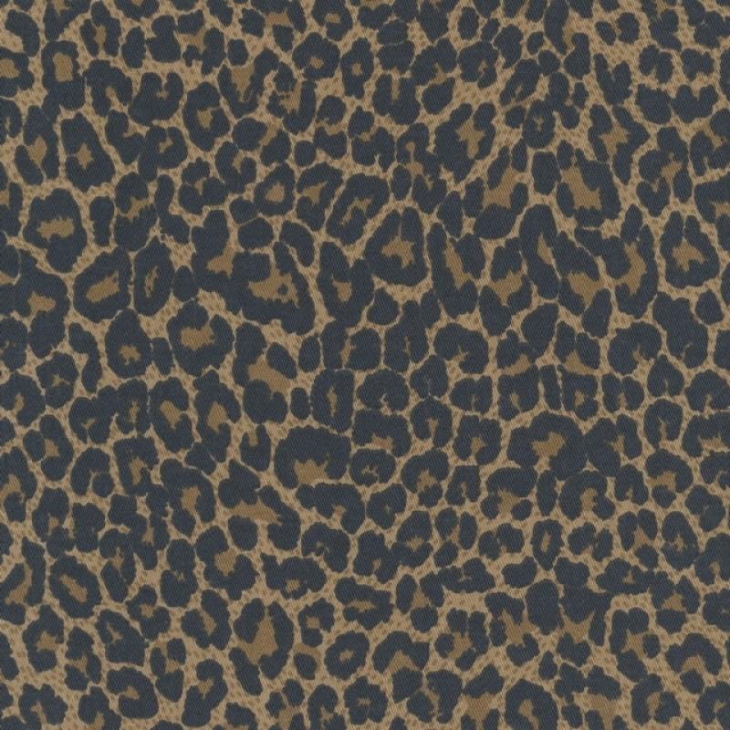 Rest Cowboy twill-vævet med stræk i leopard-print i brun og sort, 80 cm.