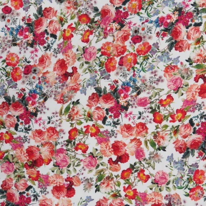 Cowboy med stræk digital print blomstret i hvid rød grøn-317