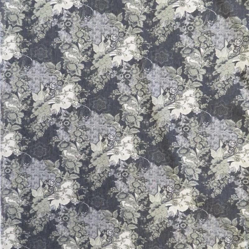 Bomuld med stræk i mørkeblå med blomster i støvet grøn og sand-38