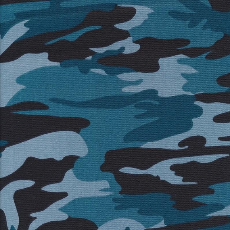 100% bomuld/cowboy i army print petrol brun lyseblå