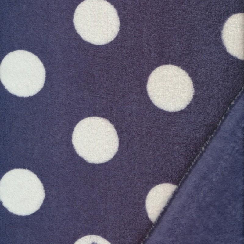 Fleece med prikker/bomber i mørkeblå og hvid