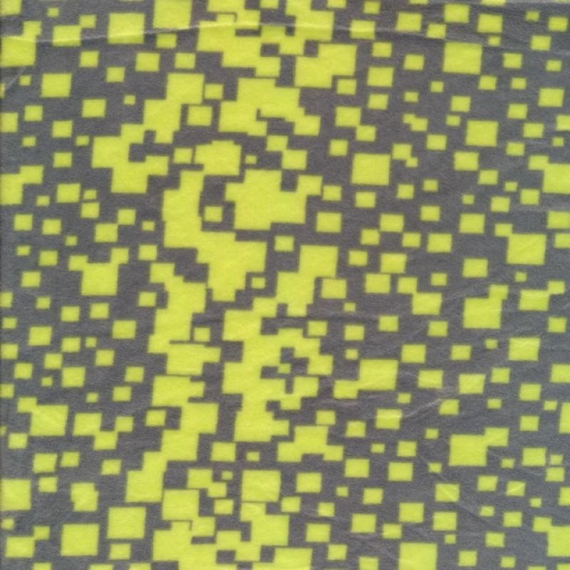 Micro Fleece med firkanter i grå og neon gul-316