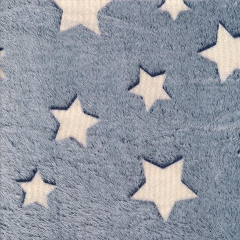 "Frotté fleece i blå med stjerner ""glow in the dark"""