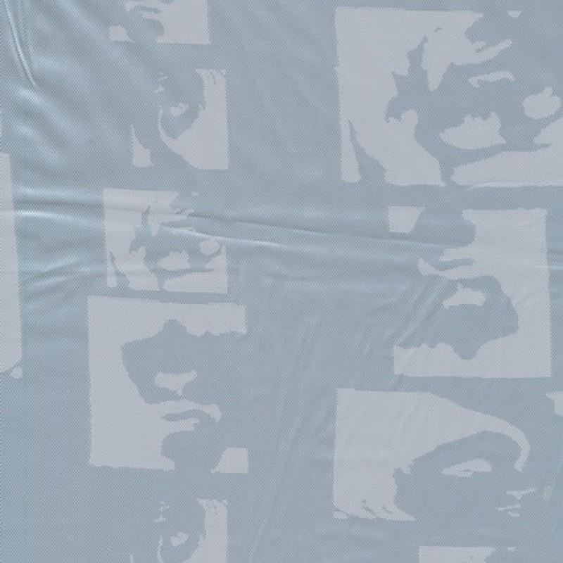 Acetat foer, lysegrå/blå m/ansigter-35