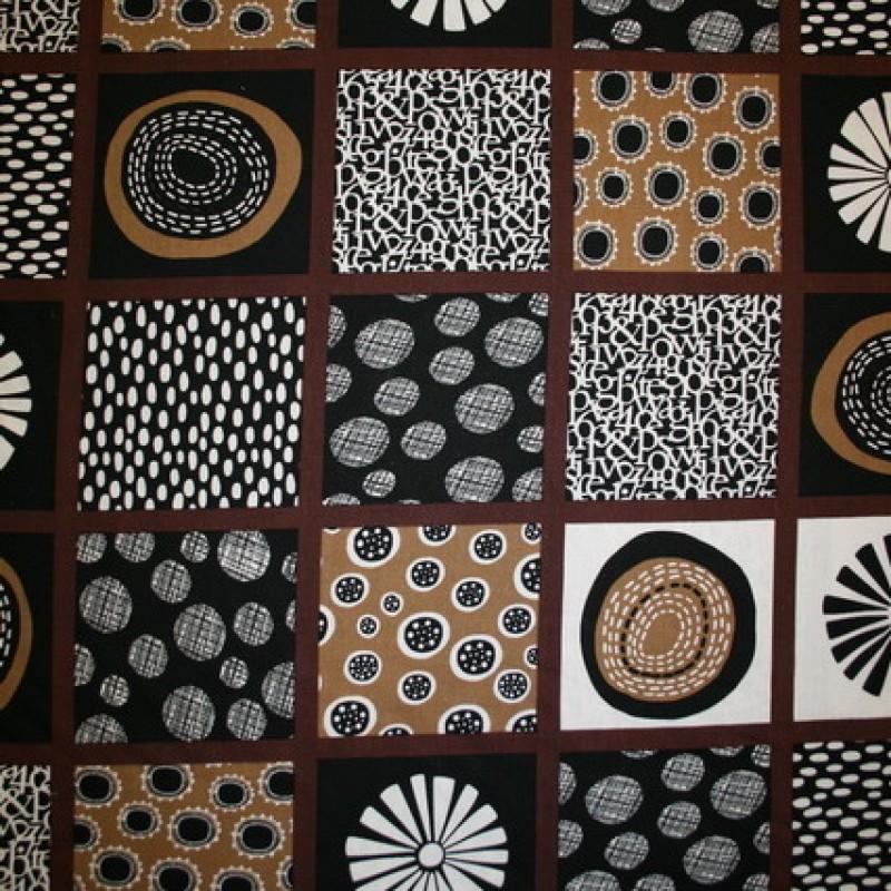 Rest Hør brun m/firkant/motiver, 40 cm.-33
