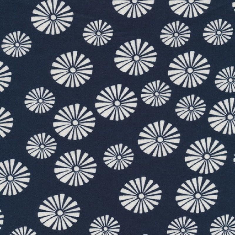 Hør blåt hørstof m blomster-31