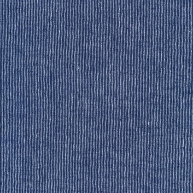 Hør/Bomuld med smalle striber i klar blå og denim.-312