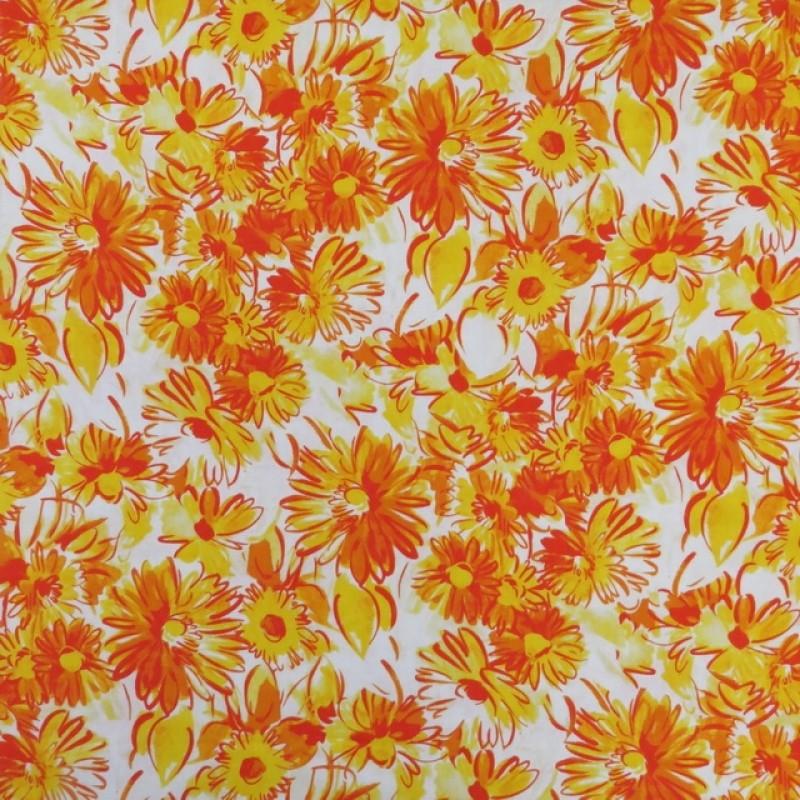 Let viskose/hør med blomster i hvid, gul og orange-328