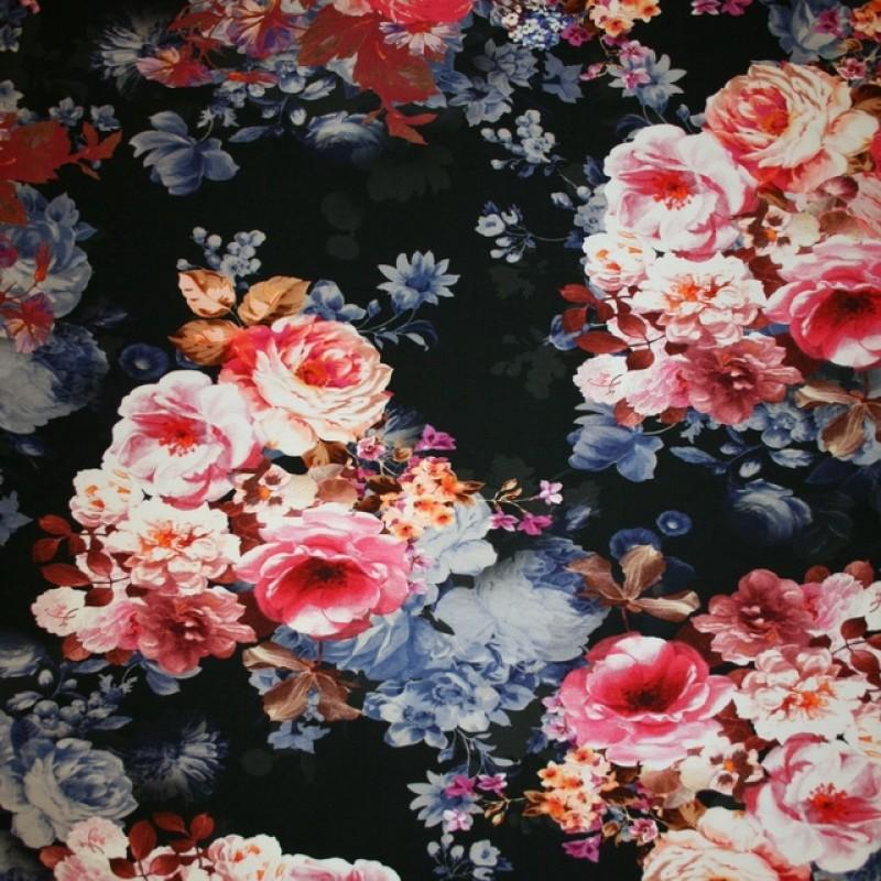 Let isoli m/stræk digital print blomstret sort denim lys pink