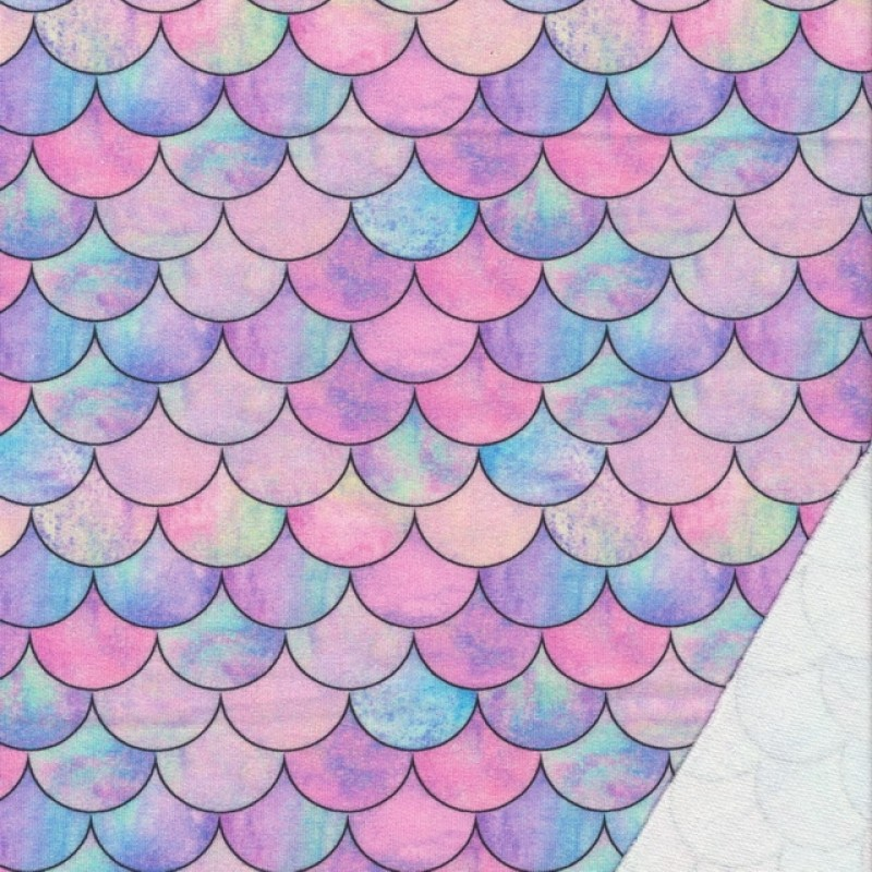 Isoli m/stræk digital print med buer i lyserød, lyselilla, lys turkis
