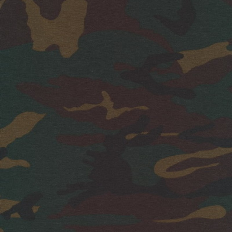 Bomuld/lycra økotex m/army-print, mørkebrun/flaskegrøn/sort-35