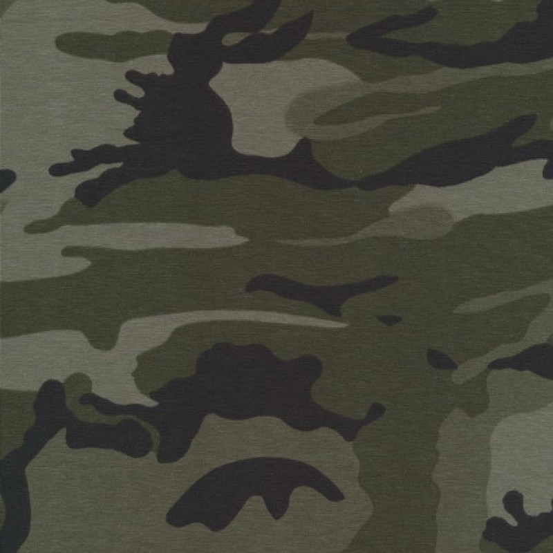 Bomuld/lycra økotex m/army-print, army/grå-grøn/sort
