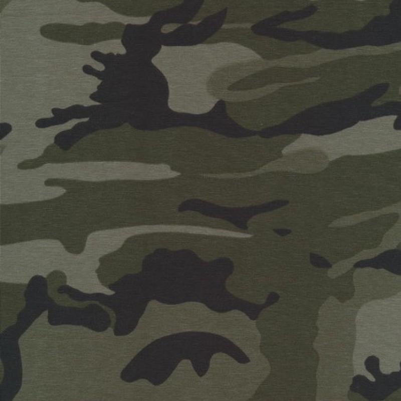 Rest Øko-bomuld/lycra m/army-print, army/grå-grøn 30 cm.