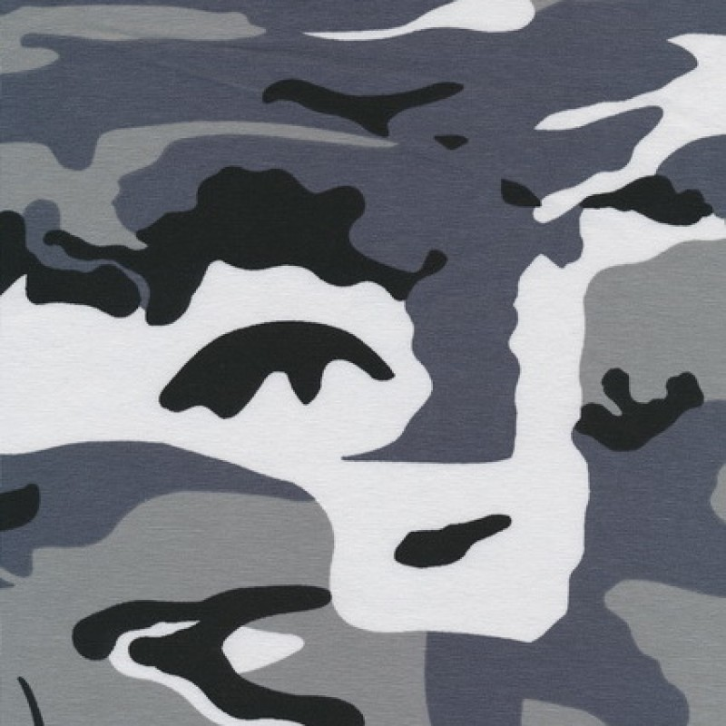 Rest Øko-bomuld/lycra m/army-print, grå/sort/hvid 35 cm.-00