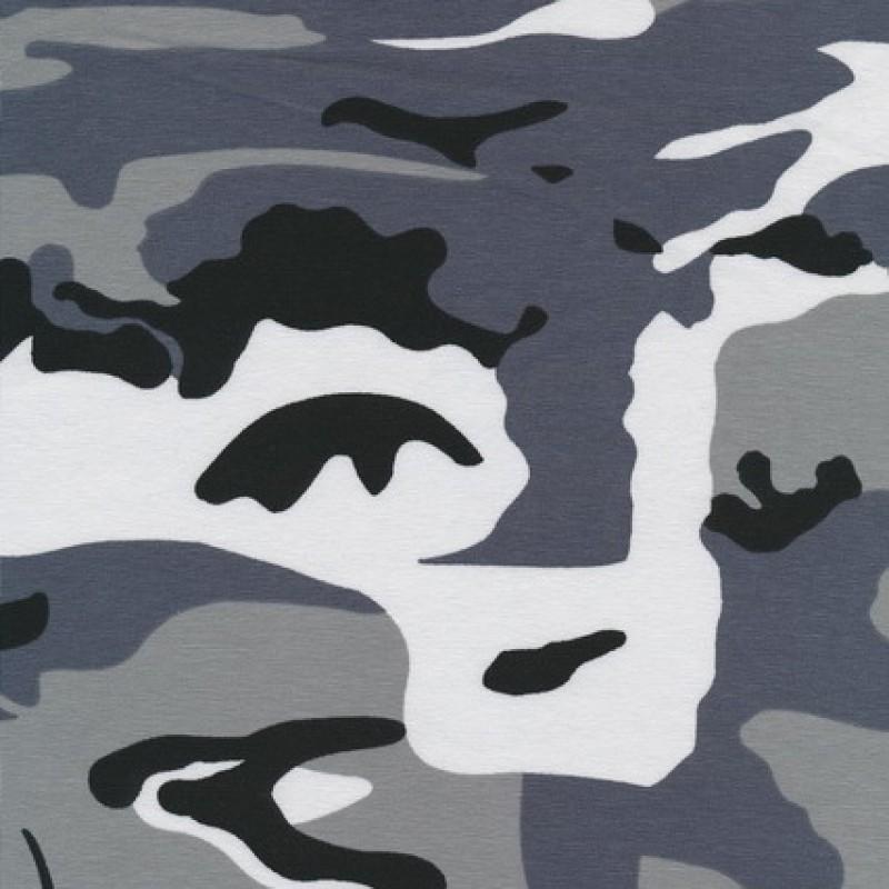 Bomuld/lycra økotex m/army-print, grå/sort/hvid-35