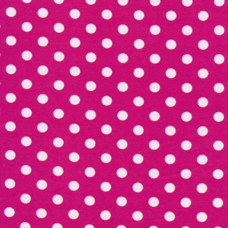 Bomuld/lycra økotex med prikker i pink og hvid-35